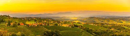 Panorama del paisaje de viñedo en una campiña austriaca con Graz en segundo plano en Leibnitz Kitzeck im Sausal
