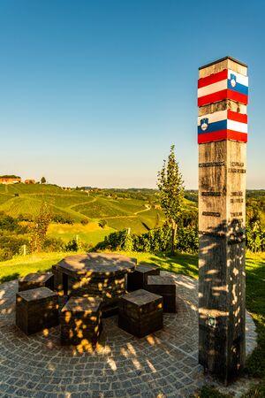 Glanz, Austria Border between Austria and Slovenia, scenery vineyard along the south Styrian vine route named suedsteirische weinstrasse in Austria.