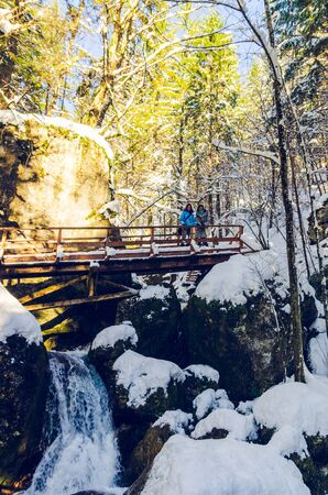 Myra Falls, Myrafalle in lower Austria 05.01.2015 during winter on a sunny day. Walk along mountain stream with waterfalls in forest. Famous travel destination 報道画像