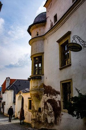 Durnstein in early spring, Wachau valley, Austria Town hall tourist destination