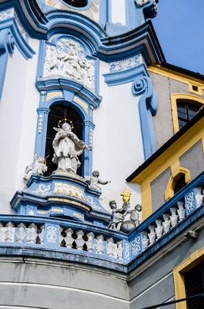 Durnstein in early spring, Wachau valley, Austria blue church tower tourist destination