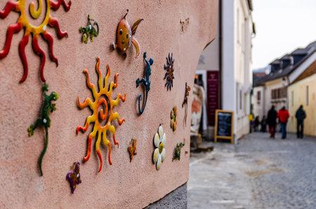 Ccolorful ornamentation on wall Redakční