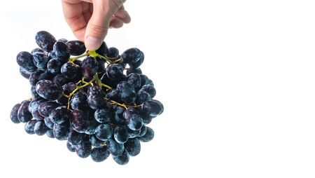 Bunch of red grapes splashing on withe background. Copy space