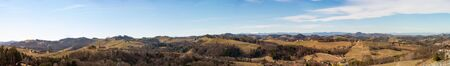 Austria - Slovenia border. Vineyards Sulztal panorama , Leibnitz area south Styria wine street, wine country. March before .season