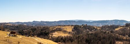 Austria - Slovenia border. Vineyards Sulztal, Leibnitz area south Styria wine street, wine country. March before .season Фото со стока