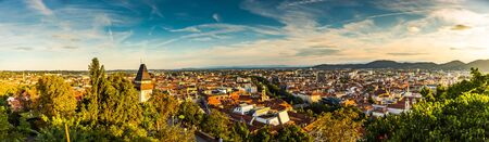 Panoramic view at Graz city with his famous buildings. Famous tourist destination in Austria Stock Photo