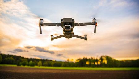 Graz, Austria 0105.2020 - DJI Drone Mavic 2 Pro with Hasselblad camera flying against blue sky. Copy space
