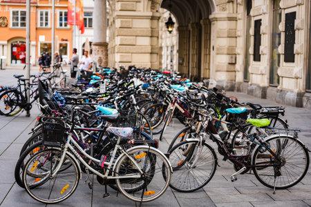 Graz, Styria,Austria - 24.06.2020: View at bikes parkes at main square next to city hall.