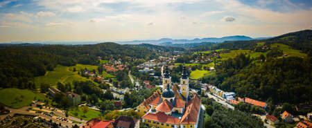 Aerial panoram of Baroque Mariatrost Basilica on top of the Purberg hill in Mariatrost, a district of Graz. Travel destination, famous turist spot