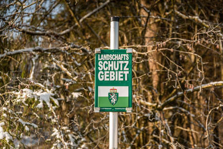Protected landscape area sign in Styrian forest.