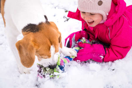 Child playing with dog on snow. Stock Photo