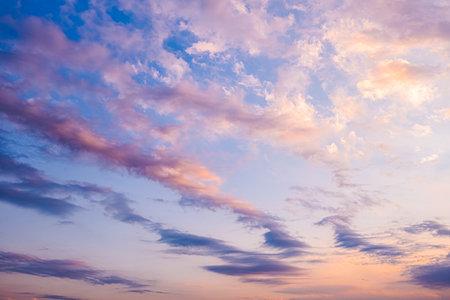 View of of sky. Orange blue and violet color sunset sky background.