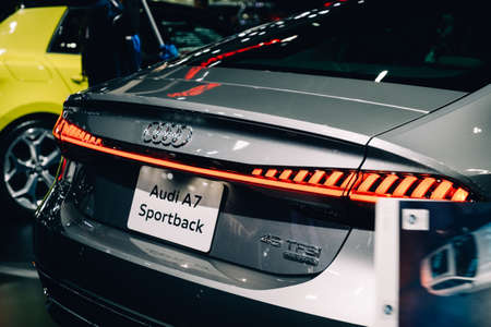Bangkok, Thailand - December 1, 2019: The LED Matrix Taillight of Audi A7 Sportback 45TFSI Quattro showcase at the Thailand International Motor Expo 2019 at Impact Challenger Hall