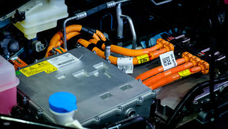 Bangkok, Thailand - December 1, 2019: The electric motor components inside an engine bay of MG ZS EV showcase at the Thailand International Motor Expo 2019 at Impact Challenger Hall Redactioneel