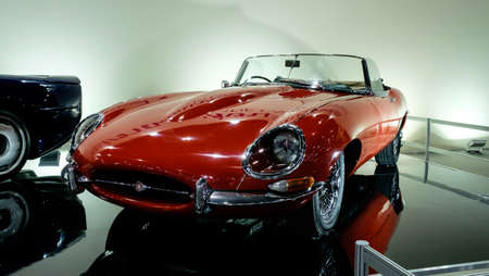 Bangkok, Thailand - December 1, 2019: The classic red Jaguar E-Type showcase at the Thailand International Motor Expo 2019 at Impact Challenger Hall Redactioneel