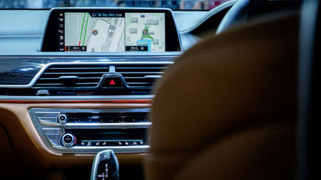 Bangkok, Thailand - December 1, 2019: The interior of BMW 5-series with new infotainment system showcase at the Thailand International Motor Expo 2019 at Impact Challenger Hall
