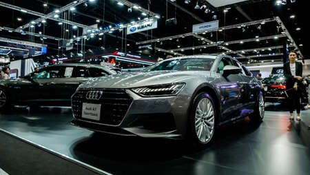 Bangkok, Thailand - December 1, 2019: The silver Audi A7 Sportback 45TFSI Quattro showcase at the Thailand International Motor Expo 2019 at Impact Challenger Hall