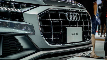 Bangkok, Thailand - December 1, 2019: The front grilled of silver Audi Q8 55 TFSI Quattro showcase at the Thailand International Motor Expo 2019 at Impact Challenger Hall