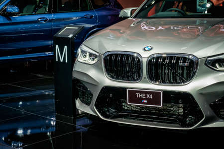 Bangkok, Thailand - December 1, 2019: The silver BMW X4M showcase at the Thailand International Motor Expo 2019 at Impact Challenger Hall
