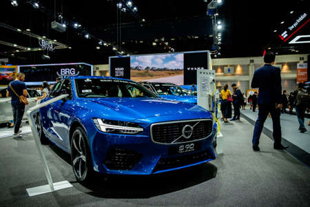 Bangkok, Thailand - December 1, 2019: The blue Volvo S90 R-Design showcase at the Thailand International Motor Expo 2019 at Impact Challenger Hall Redactioneel