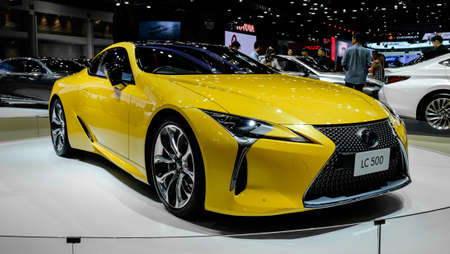 Bangkok, Thailand - December 1, 2019: The yellow luxury sport Lexus LC500 showcase at the Thailand International Motor Expo 2019 at Impact Challenger Hall