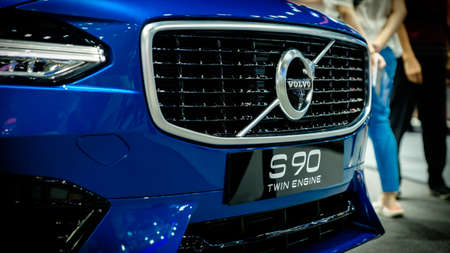 Bangkok, Thailand - December 1, 2019: The front view of Volvo S90 R-Design showcase at the Thailand International Motor Expo 2019 at Impact Challenger Hall