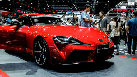 Bangkok, Thailand - December 1, 2019: The red sport Toyota GR Supra A90 showcase at the Thailand International Motor Expo 2019 at Impact Challenger Hall