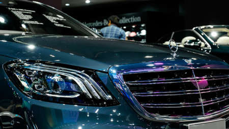 Bangkok, Thailand - December 1, 2019: The Mercedes Benz S560e AMG Dynamics Saloon showcase at the Thailand International Motor Expo 2019 at Impact Challenger Hall Redactioneel