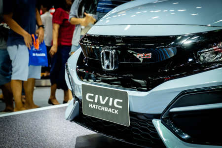 Bangkok, Thailand - December 1, 2019: The front view of Honda Civic Hatchback RS showcase at the Thailand International Motor Expo 2019 at Impact Challenger Hall