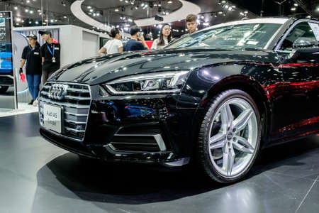 Bangkok, Thailand - December 1, 2019: The black Audi A5 Coupe 45TFSI Quattro showcase at the Thailand International Motor Expo 2019 at Impact Challenger Hall Redactioneel