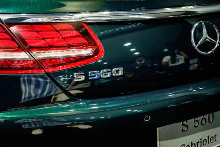 Bangkok, Thailand - December 1, 2019: The Back of Mercedes Benz S560 Cabriolet showcase at the Thailand International Motor Expo 2019 at Impact Challenger Hall