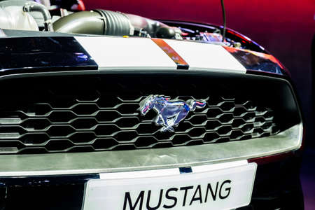 Bangkok, Thailand - December 1, 2019: The muscle Ford Mustang showcase at the Thailand International Motor Expo 2019 at Impact Challenger Hall