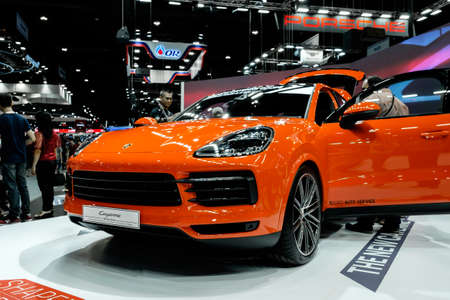 Bangkok, Thailand - December 1, 2019: The Porsche Cayenne Coupe showcase at the Thailand International Motor Expo 2019 at Impact Challenger Hall