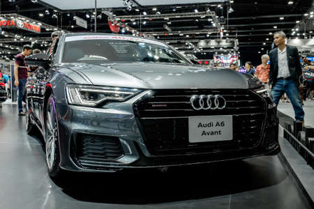 Bangkok, Thailand - December 1, 2019: The silver Audi A6 Avant 55TFSI Quattro S-Line showcase at the Thailand International Motor Expo 2019 at Impact Challenger Hall Redactioneel