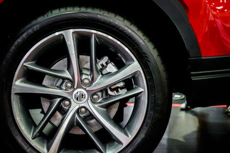 Bangkok, Thailand - December 1, 2019: The 18-inch wheel of MG HS showcase at the Thailand International Motor Expo 2019 at Impact Challenger Hall