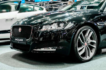 Bangkok, Thailand - December 1, 2019: The front view of Jaguar XF showcase at the Thailand International Motor Expo 2019 at Impact Challenger Hall Redactioneel