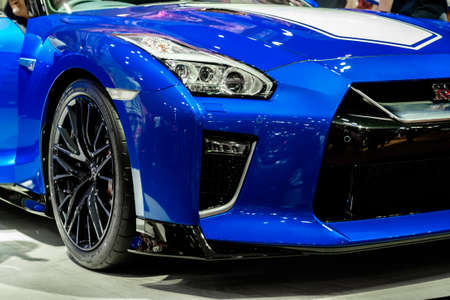Bangkok, Thailand - December 1, 2019: The front view of 50th Anniversary Nissan GTR R35 showcase at the Thailand International Motor Expo 2019 at Impact Challenger Hall