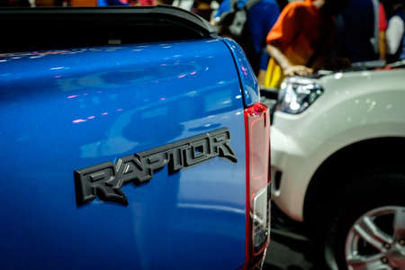 Bangkok, Thailand - December 1, 2019: The badge of Ford Ranger Raptor showcase at the Thailand International Motor Expo 2019 at Impact Challenger Hall