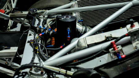 Bangkok, Thailand - December 1, 2019: The engine bay of Ferrari race car showcase at the Thailand International Motor Expo 2019 at Impact Challenger Hall Redactioneel