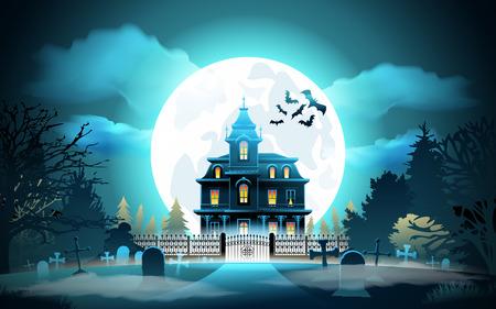Halloween achtergrond. Halloween-landschap met kasteel en begraafplaats. Vector illustratie