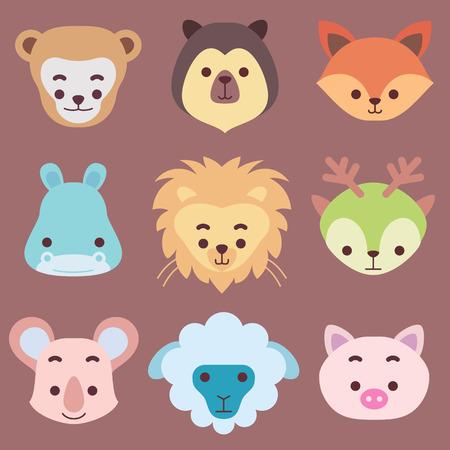 Animales Vectro. Estilo de dibujos animados.