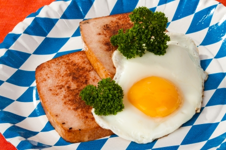 Bavarian type of meat loaf with fried egg photo