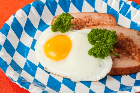 leberkaese: Bavarian type of meat loaf with fried egg