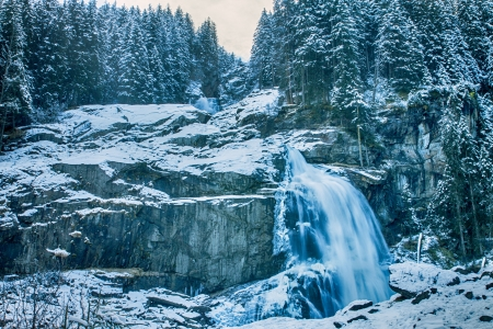 Krimml Cascades, Austrian Alps near Kitzbuehel in winter photo