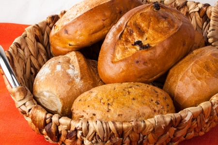 crusted: Traditional German bread rolls in a basket