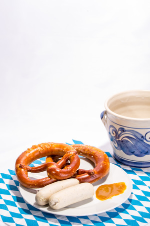 Bavarian white sausages, traditional breakfast photo