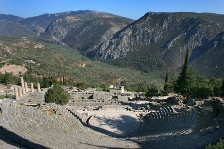 ���archeological site���: Ancient Theater in Delphi archeological site, Pelopponese, Greece Stock Photo