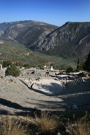 delphi: Ancient Theater in Delphi archeological site, Pelopponese, Greece Stock Photo