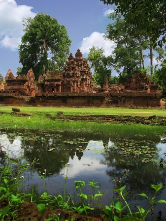 Beautiful Banteay Srei temple (temple of women) near Angkor Wat (Siem Reap, Cambodia).