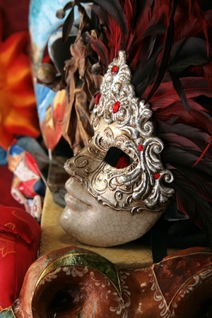 Venice: Lovely traditional carnival mask with feathers Stock Photo